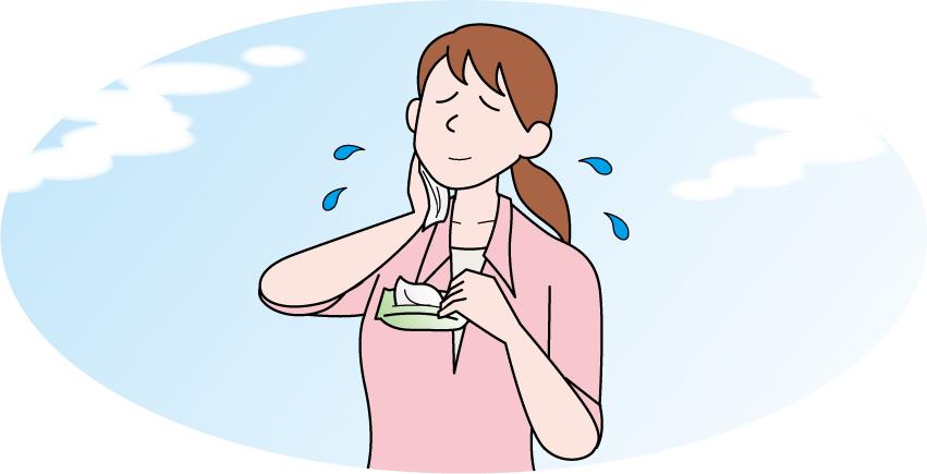不快な汗のにおいの対処法のイラスト